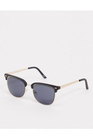 ASOS Muži Sluneční brýle - Retro sunglasses in gold with black brow detail and solid black lens
