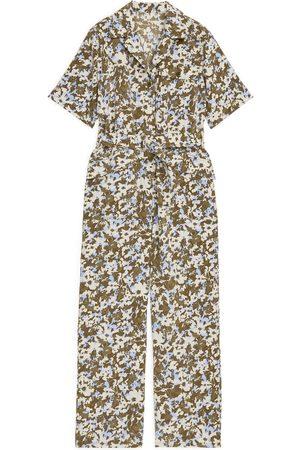 ARKET Belted Floral Jumpsuit - Beige