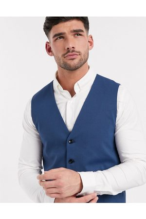 Selected Slim fit stretch waistcoat in blue