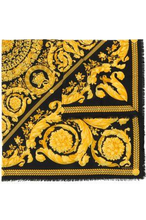 VERSACE Fine knit baroque print scarf