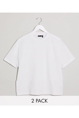 ASOS 2 pack relaxed t-shirt with crew neck in white
