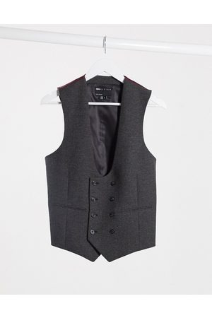 ASOS Wedding super skinny wool mix suit waistcoat in charcoal herringbone-Grey