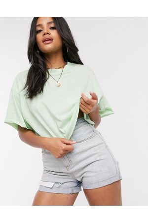 ASOS Tonal co-ord boxy crop t-shirt with raw edge in apple-Green