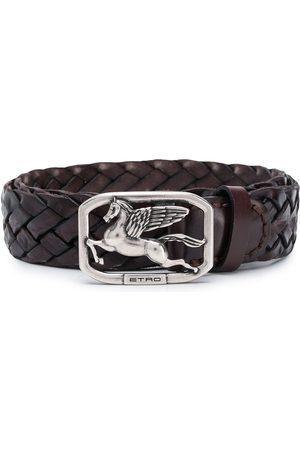 Etro Woven Pegaso-buckle belt