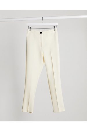 ASOS Pop slim suit trousers in ivory-White
