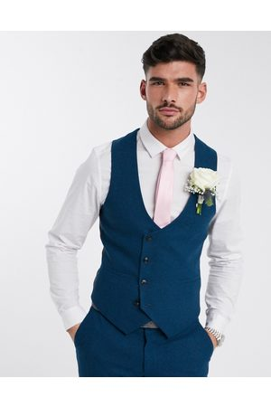 Harry Brown Slim fit wedding summer tweed suit waistcoat-Blue