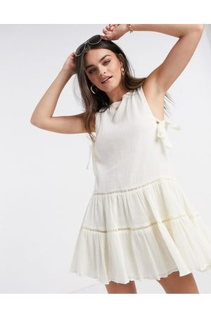 ASOS Tiered mini smock sundress with open back-Cream