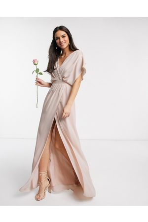 ASOS Bridesmaid short sleeved cowl front maxi dress with button back detail in Blush-Pink