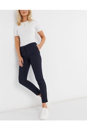 Selected Cropped slim trousers in dark blue