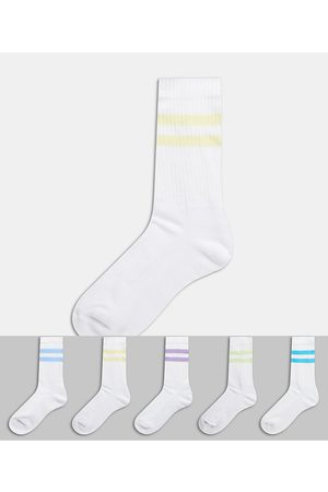 ASOS ASOS DESGN sport socks with multi colour stripe 5 pack-White
