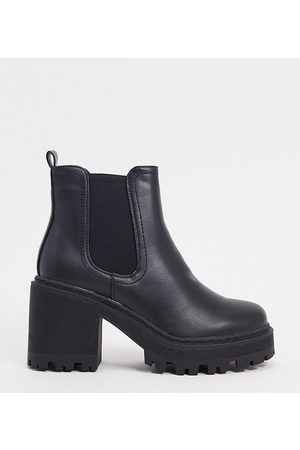 Public Desire Fuzzy chunky heeled ankle boot in black