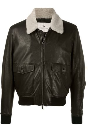 TAGLIATORE Contrast-collar leather jacket