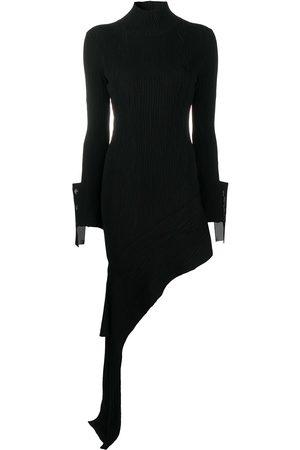 OFF-WHITE MOIRE DRESS BLACK WHITE