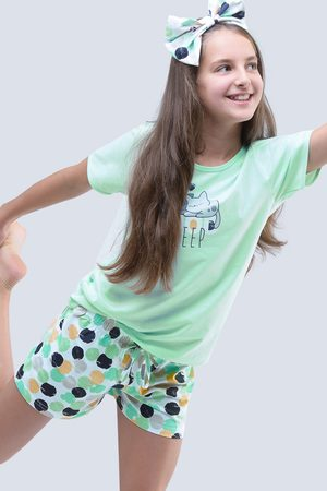 Gina Dívčí letní pyžamo Cats aqua
