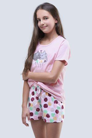 Gina Dívčí letní pyžamo Cats růžové