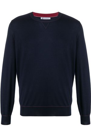 Brunello Cucinelli Contrast stitching relaxed-fit jumper