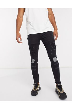 Brave Soul Skinny fit biker jean in charcoal wash-Black