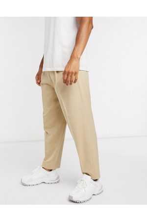 ASOS Muži Chino - Oversized tapered smart trouser in stone