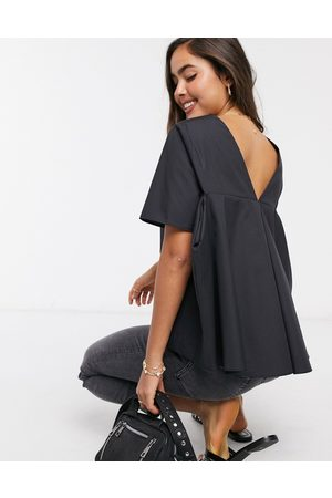 ASOS Short sleeve cotton top with pleat back detail in black