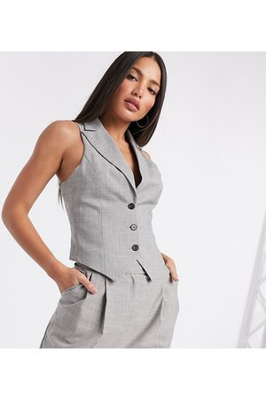 ASOS ASOS DESIGN Tall mansy 3 piece suit waistcoat in taupe texture-Grey