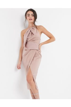 ASOS Ženy Ke krku - Satin halter neck midi dress with drape bodice-Pink