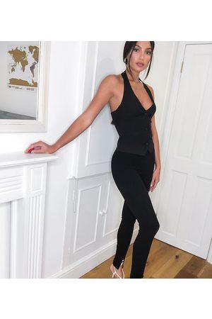 ASOS Ženy Společenské - ASOS DESIGN Tall jersey slim split front suit trousers in black