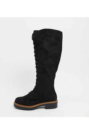 ASOS Wide Fit Courtney chunky lace up knee high boots-Black