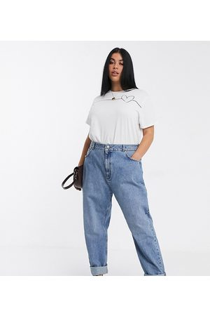 ASOS ASOS DESIGN Curve high rise 'slouchy' mom jeans in midwash-Blue