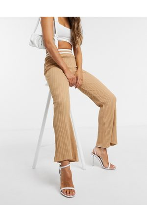 ASOS Co-ord knitted flare trouser in camel stripe-Stone