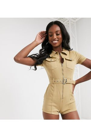 Parisian Utility playsuit with belted waist in stone