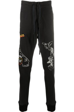 GREG LAUREN Tapered embroidered logo track pants