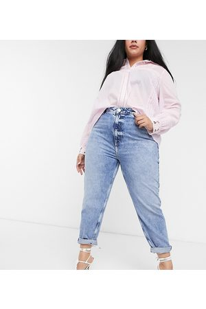 River Island High rise mom jeans in light blue
