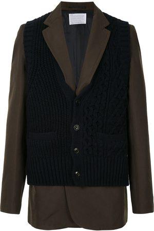 Kolor Layered knit-panel blazer