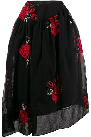 Simone Rocha Asymmetric embroidered flower skirt
