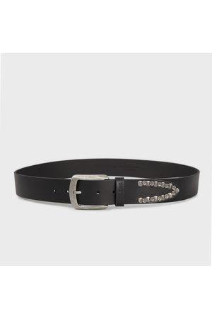 Pepe Jeans Muži Pásky - Pánský černý pásek s kováním