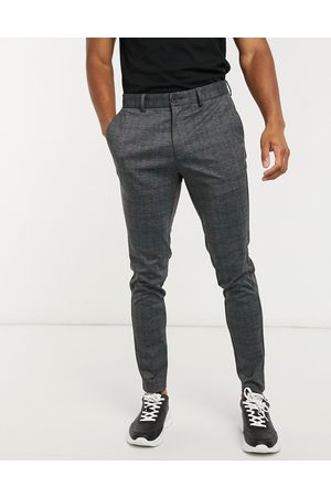 Jack & Jones Muži Chino - Intelligence slim fit jersey trousers in dark grey check
