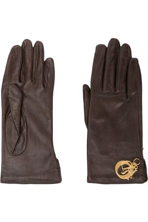 Dior 1970s pre-owned letter charms leather gloves