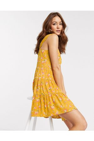 ASOS Button through mini tiered sundress in ditsy floral print-Multi