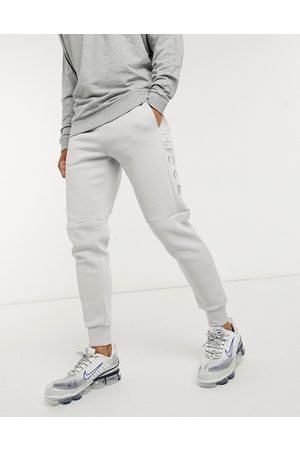 Nicce Muži Tepláky - Embroidered logo mercury joggers in stone grey