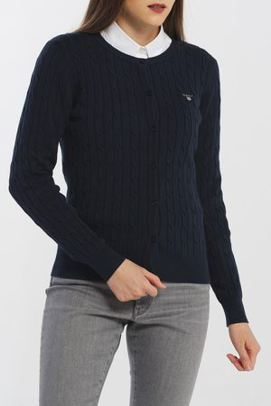GANT Svetr Stretch Cotton Cable Cardigan