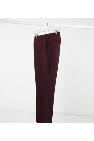 ASOS Plus wedding super skinny wool mix suit trousers in burgundy-Red