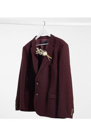 ASOS Plus wedding super skinny wool mix suit jacket in burgundy-Red