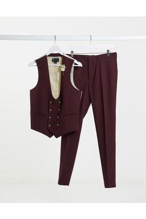 ASOS Muži Společenské vesty - Wedding super skinny wool mix suit waistcoat in burgundy twill-Red