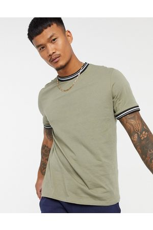 ASOS T-shirt with tipping in khaki-Green