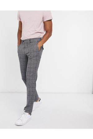 Selected Muži Chino - Slim fit trouser in dark grey check