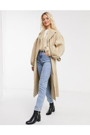 ASOS Extreme sleeve trench coat in stone-Beige