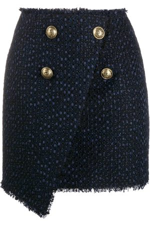 Balmain Asymmetric wraparound tweed skirt