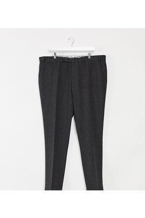 ASOS Plus wedding super skinny suit trousers in charcoal herringbone-Grey