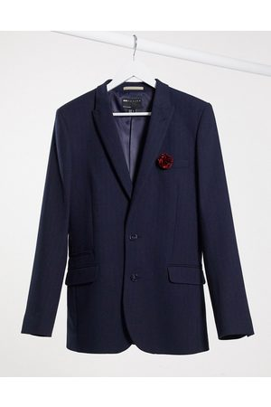ASOS Wedding super skinny wool mix suit jacket in navy herringbone