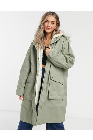 ASOS Ženy Parky - Faux fur lined parka in sage-Green